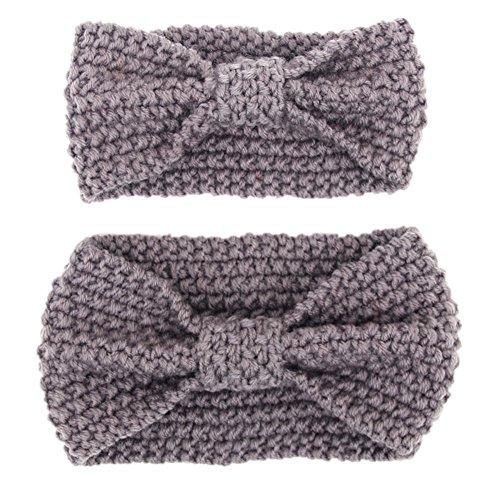 Fletion Mutter und Baby Stricken Wolle Haarband Haarreif Kleinkind Geknotete Hairband Eltern-Kind Stirnband, Grau