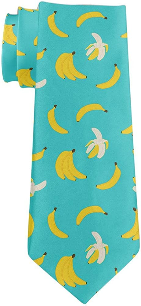 Fruit Peeled Banana Repeat Pattern All Over Neck Tie