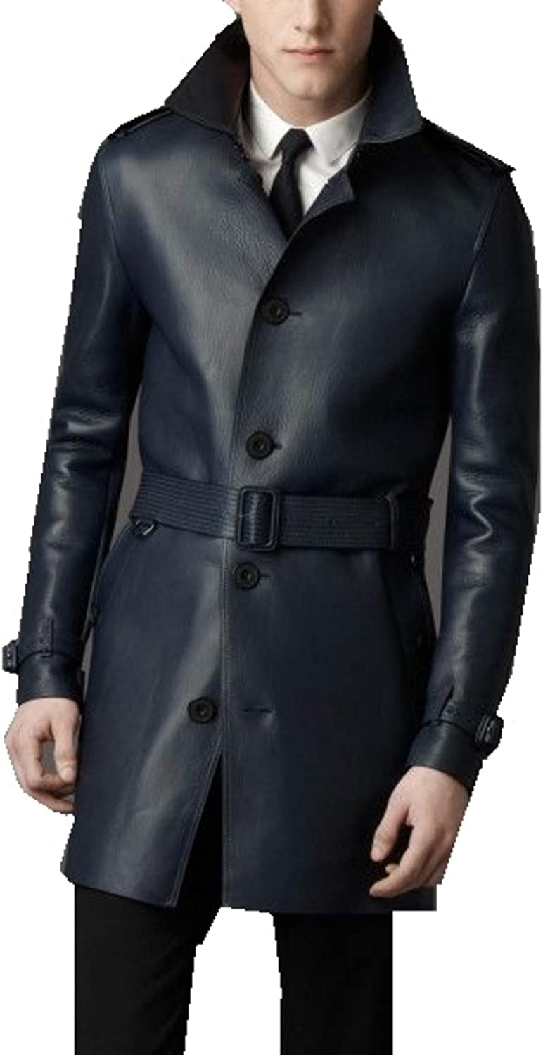 Leather Hubb Men's New Zealand Lambskin Navy Blue Classic Leather Long/Trench Coat
