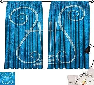 Room Darkening Wide Curtains Lyre,Four-Stringed Ancient Greek 54