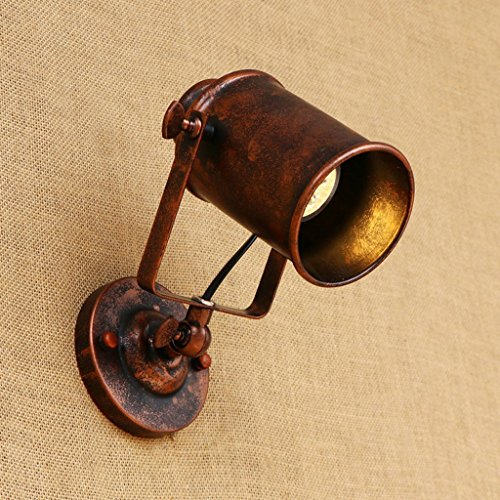Nailyn Vintage Industrial Swing Arm Wandleuchte Licht einstellbar Retro Schmiedeeisen Wandleuchte Flexible Arm Wand Strahler mit Rost Farbe Metall Lampenschirm, Edison E27 Sockel