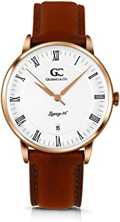 Gelfand & Co. Unisex Minimalist Watch Medium Brown Leather Gansevoort 36mm Silver with White Dial