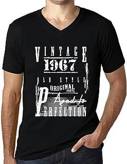 Hombre Camiseta Vintage Aged to Perfection Cuello V T-Shirt 1967 Negro Profundo Texto Rojo