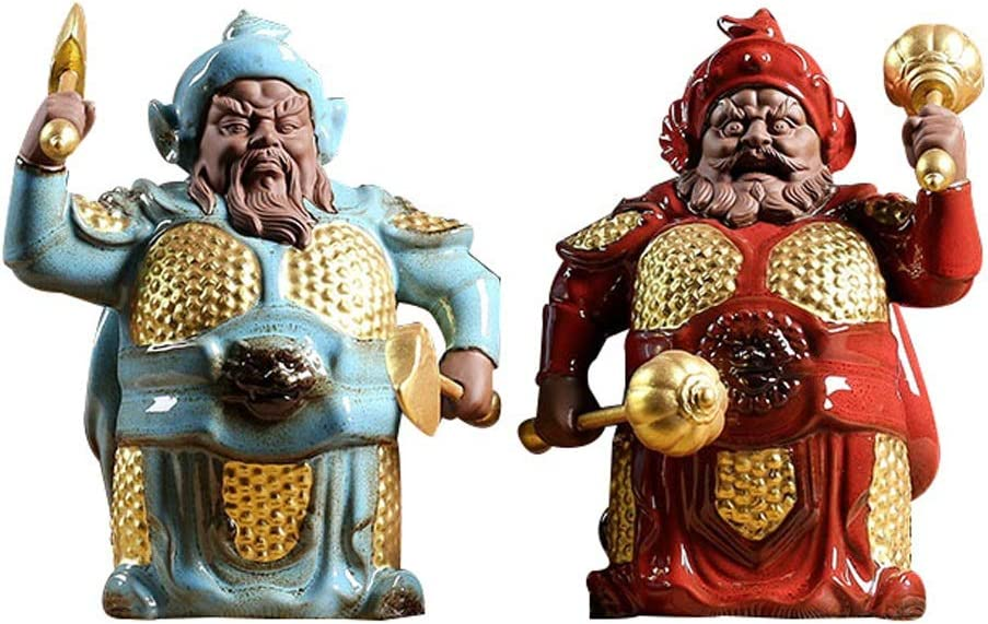 LOMJK Esculturas Estatuas Creativo Pequeño Buda Puerta Dios Buda Linda de té de cerámica for Mascotas Accesorios Budha Sala Oficina Adornos Estatuas