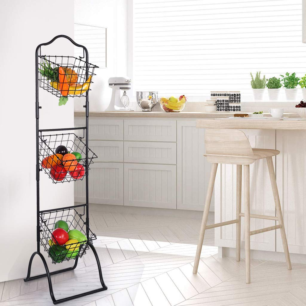 3 Tier Brown Metal Wire Market Basket Stand Display Rack For Fruit Vegetables Toiletries Household Items And More Stylish Tiered Stand Baskets For Kitchen Bathroom Storage Organization Brown Buy Online In Cook Islands