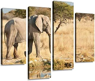 African Elephant at a natural waterhole Canvas Print Artwork Wall Art Pictures Framed Digital Print Abstract Painting Room...