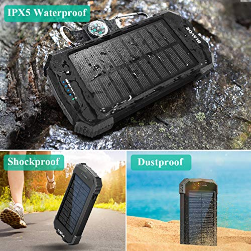Solar Charger Power Bank, Qi Wireless Charger 10,000mAh External Battery Pack Type C Input Port Dual Flashlight, Compass, Solar Panel Charging (Black)