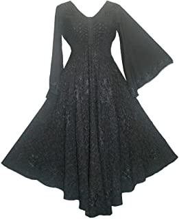 Agan Traders 206 DR Bohemian Medieval Bell Sleeve Embroidered Flare Hem Formal Dress Gown