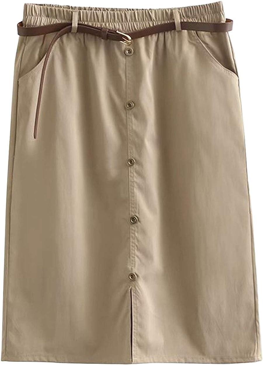 ebossy Women's Wear to Work Chino Skirt Elastic Waist Brass Button Knee Length Cargo Skirt