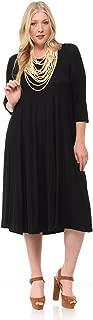 Women's A-Line Trapeze Midi Dress Plus Size - Made in USA