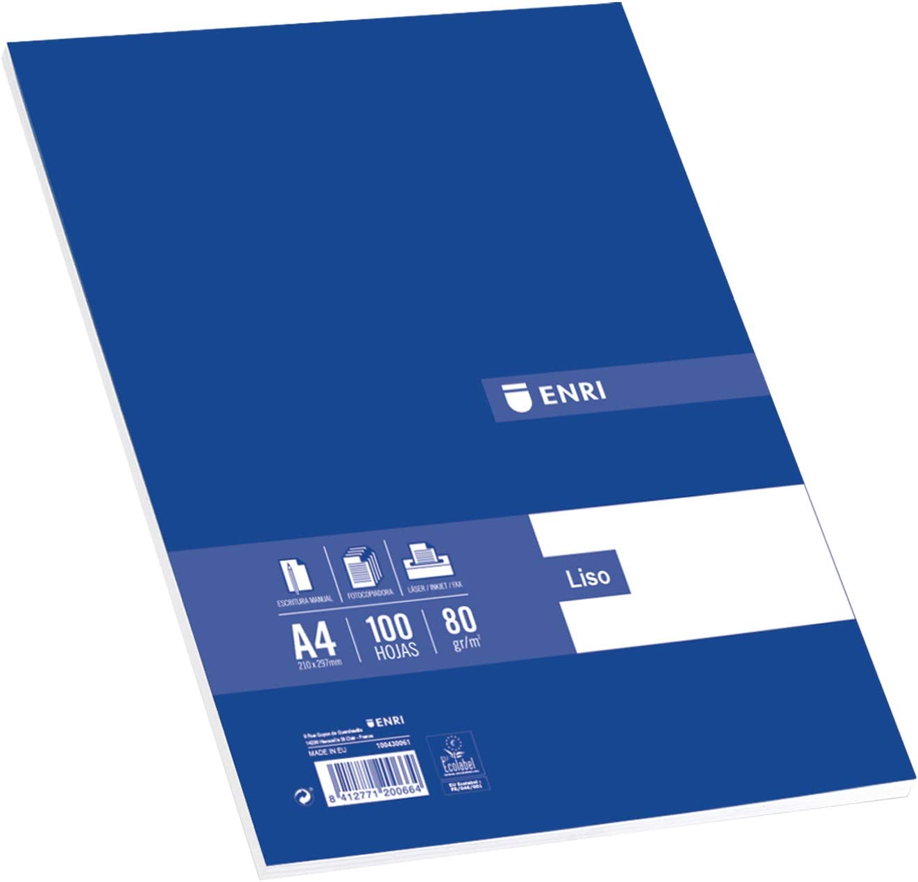 Enri - Folios A4, Recambio 100 Hojas Blancas Lisas, 80 gr