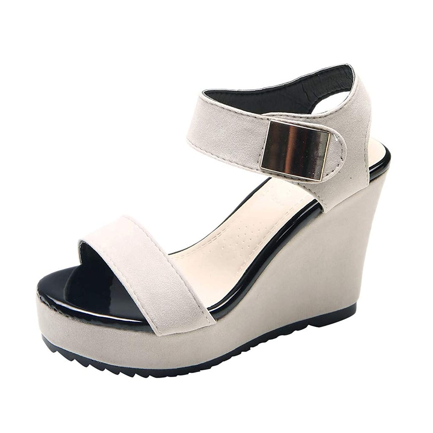 LUCA Women's Wedges Sandals Summer High Platform Elastic Band Open Toe Slingback Ankle Strap Shoes