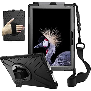 zenrich Surface Case for Pro 7 (2019) / Pro 6 (2018) / Pro 5 (2017) / Pro 4 (2015) with Pencil Holder, Stand, Hand Strap and Shoulder Belt for Surface 12.3 inch Tablet Heavy Duty Shockproof-Black