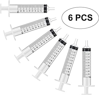 6 Pack - 10ml Plastic Syringe with Measurement, No Needle Suitable for Refilling and Measuring Liquids, Feeding Pets, Oil or Glue Applicator
