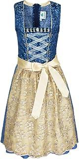 Isar-Trachten Jugend Dirndl Mara mit Spitzenschürze - Blau Gold - Mädchen Trachtenkleid Gr. 128-164