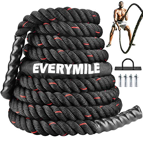 EveryMile Battle Rope, Workout Rope for Core Strength Training,Crossfit,100% Poly Dacron Heavy Exercise Training Rope with Anchor Kit & Protective Sleeve Home Outdoor Gym 1.5In30/40/50Ft