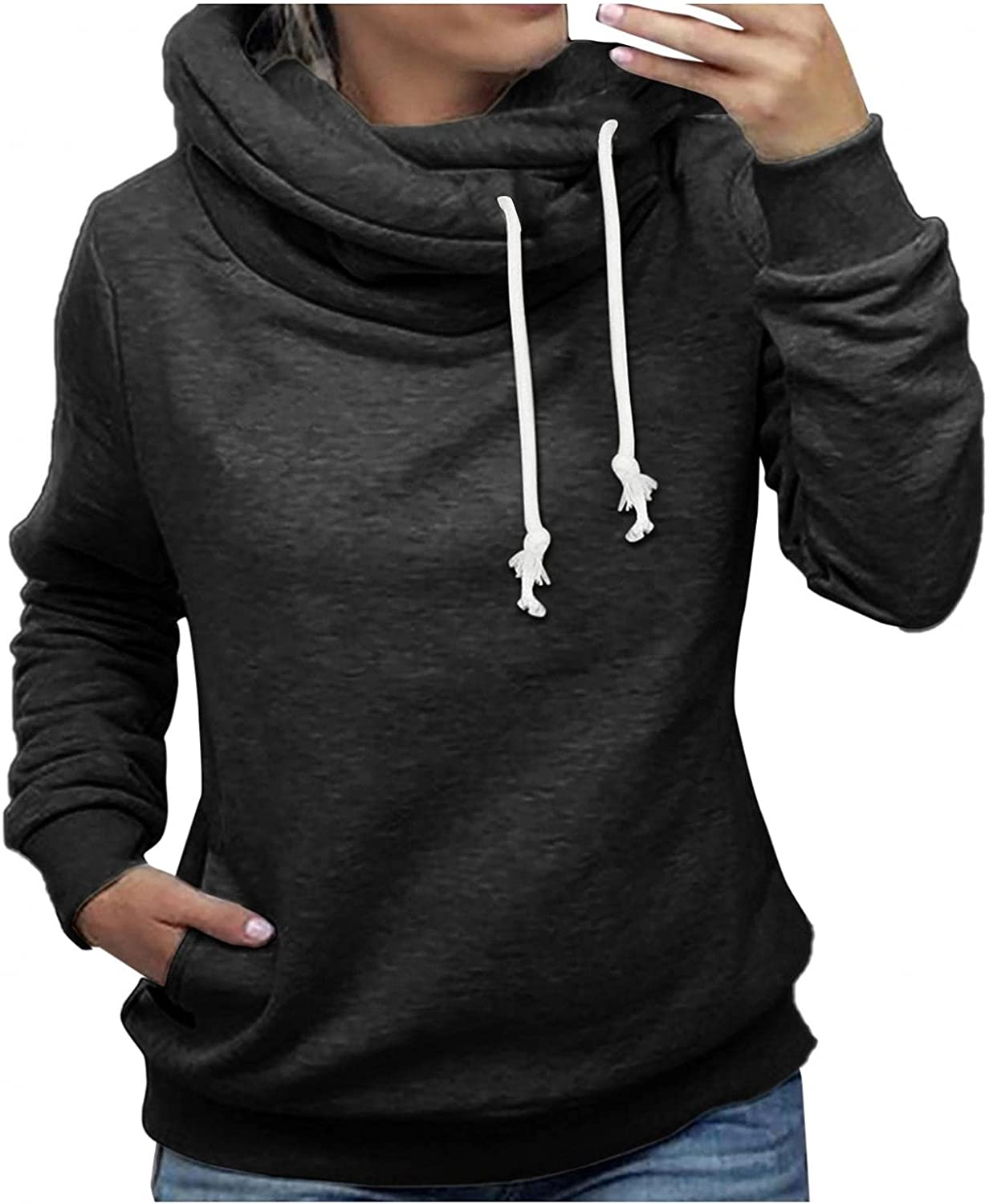 Gibobby Hooded Sweatshirts for Women Casual Turtleneck Sweaters Pullover Long Sleeve Winter Drawstring Hoodies Jackets