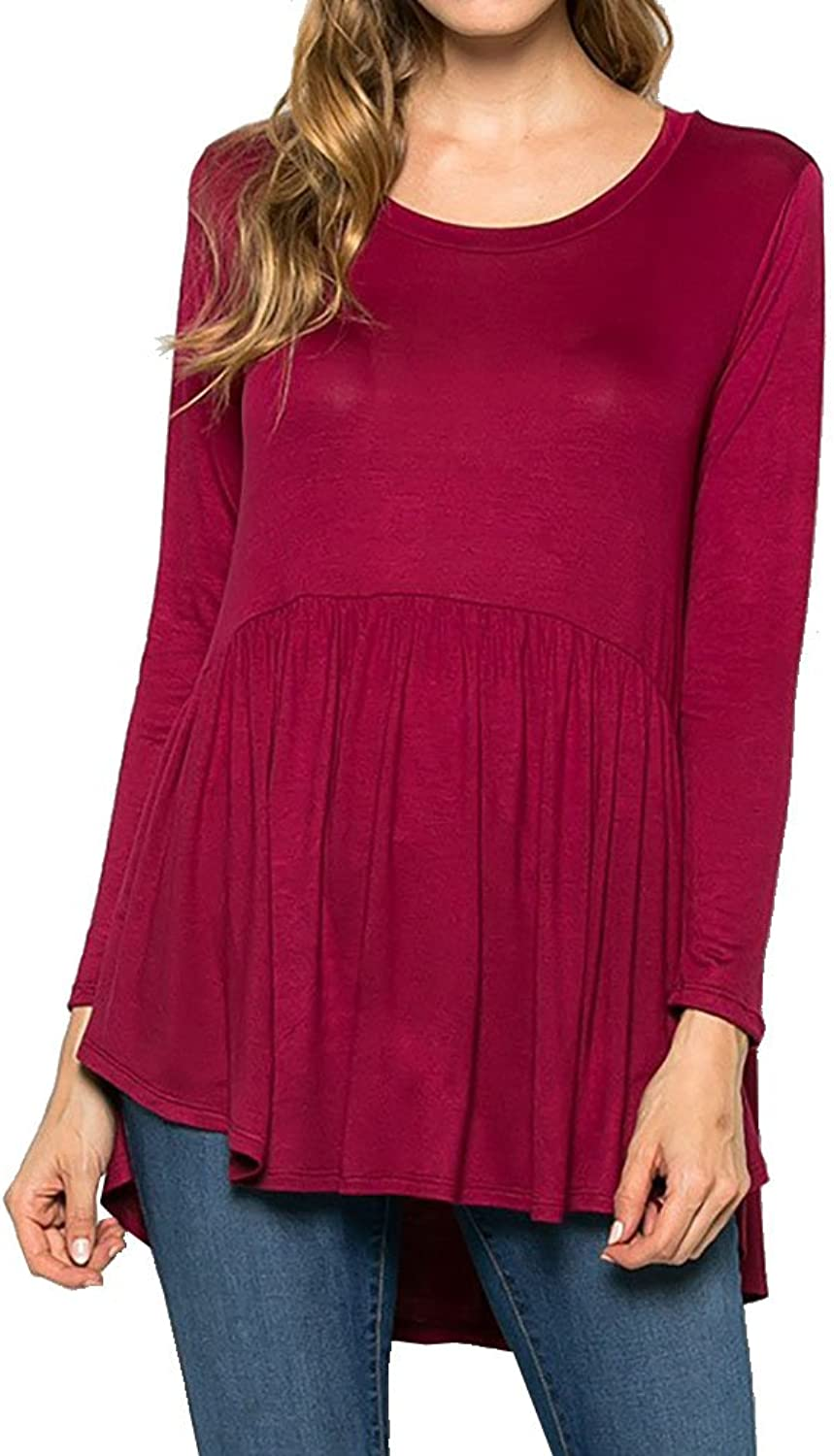 12 Ami Eva Long Sleeve Flowy HiLo Tunic Top  Made in USA