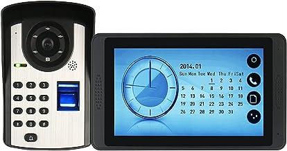 Vingerafdrukwachtwoord Videodeurbel, Intercom, Bekabelde 7-Inch Videodeurtelefoon, Touchscreenmonitor + IR-Nachtzichtcamera