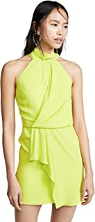Halston Heritage womens Sleeveless Mock Neck Dress with Drape Front Detail Cocktail Dress