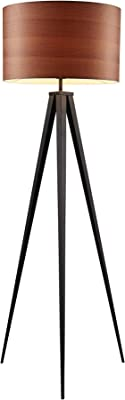 Versanora VN-L00049 Hamilton Modern Tripod Floor Lamp Tall Standing Light Shade Finish for Living Room Reading Bedroom Office, Wood Grain/Black