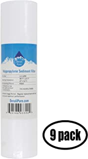 9-Pack Replacement Crystal Quest CQE-IN-00311 Polypropylene Sediment Filter - Universal 10-inch 5-Micron Cartridge for CRYSTAL QUEST Voyager Water Filter System - Denali Pure Brand