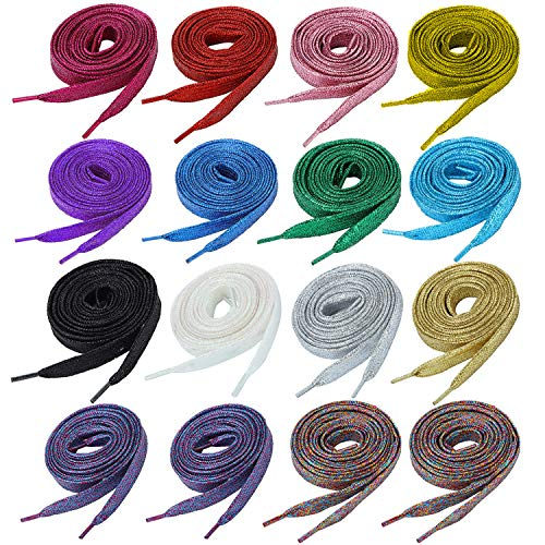 16 Pairs Glitter Flat Shoelaces 42 Inch Solid Colors Shoe Laces in 14 Different Colors for Teams Sneakers