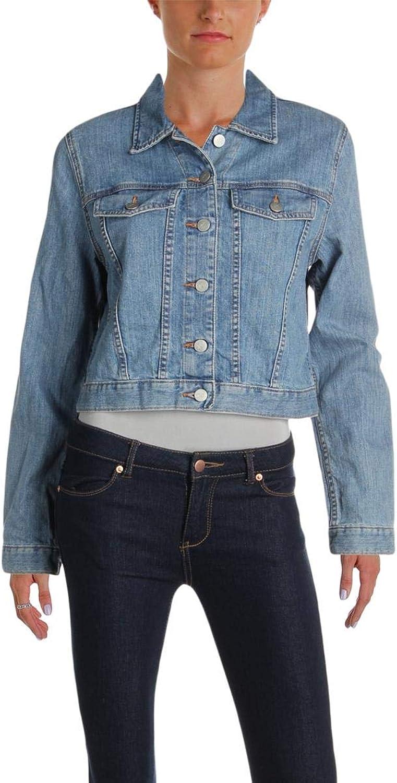 Karen Kane Womens Fall Embroidered Denim Jacket