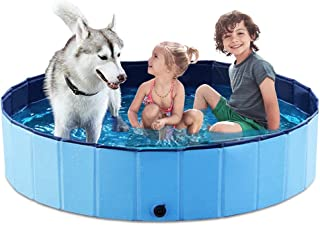 Jasonwell Foldable Dog Pet Bath Pool Collapsible Dog Pet Pool Bathing Tub Kiddie Pool for Dogs Cats and Kids (55.1inch.D x...