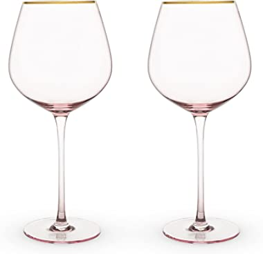 True Fabrication 6162 Garden Party: Rose Crystal Red Wine Glass Set, Multicolor