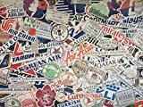 Lote de pegatinas de compañía aérea, logotipos de avión, viaje, sellos pasaporte, País, recuerdos, pegatinas para maleta, equipaje, colección, aeropuerto, aduana, mundial, álbumes, vuelo, billet (100)