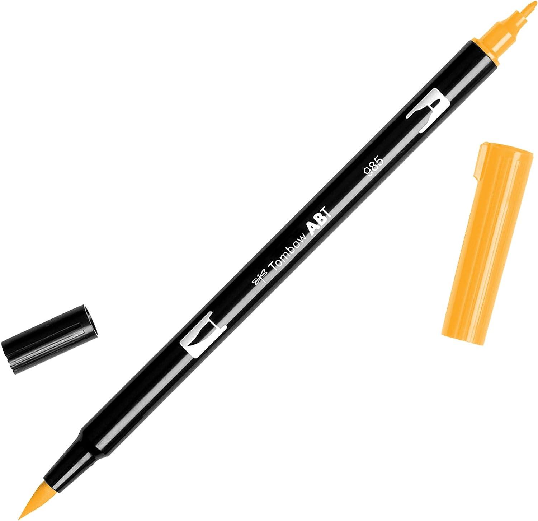 Tombow - Rotulador de punta doble, color amarillo (985 Chrome Yellow)