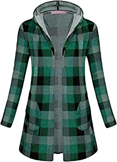 Women Fashion Plaid with Side Pockets Long Sleeve Open Front Hooded Coats Jacket Top