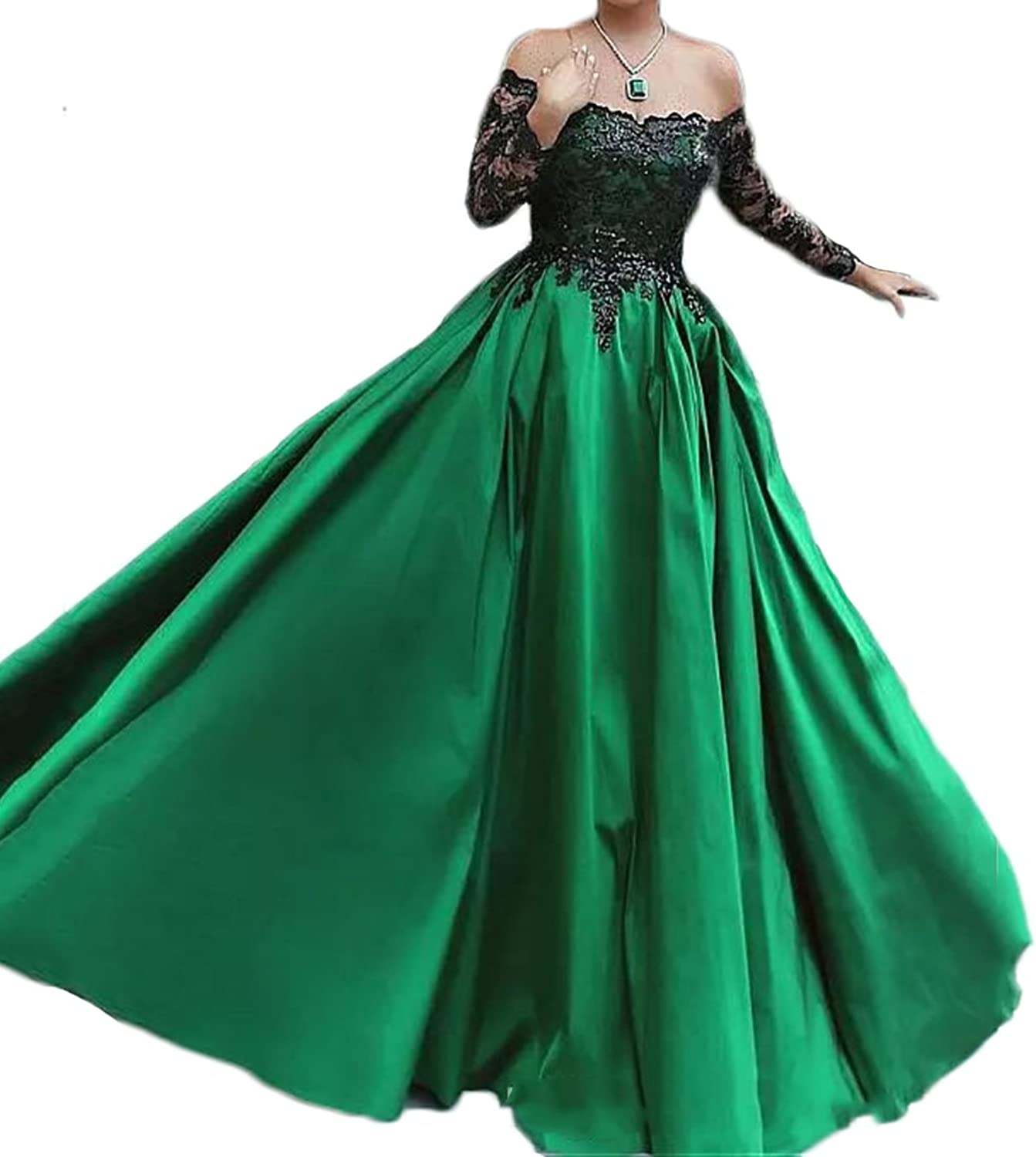 Alexzendra Women's Prom Dress Plus Size Long Evening Dress Formal With Sleeves Green
