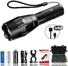 Best007 LED Linterna Recargable USB Linternas Tactica Alta Potencia Militar Linterna,5 Modos,Alta Potencia Linternas para Camping,Impermeable Linterna para Ciclismo,Con 18650 Batería