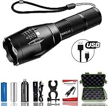 Best007 LED Linterna USB Recargable Linternas Tactica Alta Potencia Militar Linterna,5 Modos,Alta Potencia Linternas para Camping,Impermeable Linterna para Ciclismo,Con 18650 Batería
