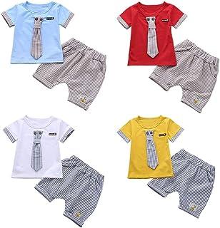 1f69b67295be3 Baywell Set Enfants Bébés Garçons Filles Cravate Mignon T-Shirt À Manches  Courtes Top +