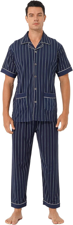 YOOJOO Men Pajama Set Cotton Short Sleeve Plaid/Stripe Lightweight Button Down Pockets Top Pants Sleepwear