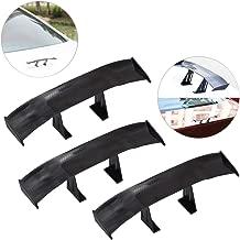 3Pcs Universal Car Mini Spoiler Wing, Creatiee Auto Car Tail Wing | Mini Auto Carbon Fiber Texture Decoration | Without Perforation Tail Decoration, 6.7 Inch (Black)