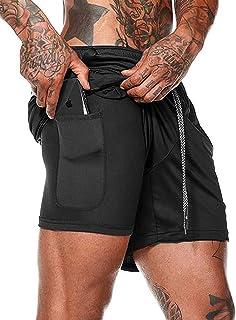 "FLYFIREFLY Men's 2-in-1 Workout Running Shorts 7"" Lightweight Gym Yoga Training Sport Short Pants"