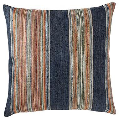 Rivet Bohemian Stripe Pillow, 17  x 17 , Ink