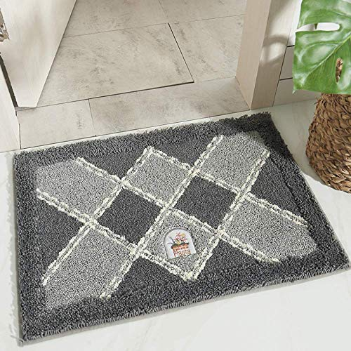 YBX Beflockung Zu Hause Bodenmatte Stoff Plaid Grau 50 * 80 cm