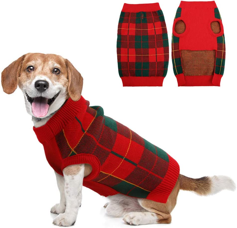 IDOMIK Dog Sweater for Opening large release sale Small Shipping included Medium Turt Knitwear Pup Plaid Dogs