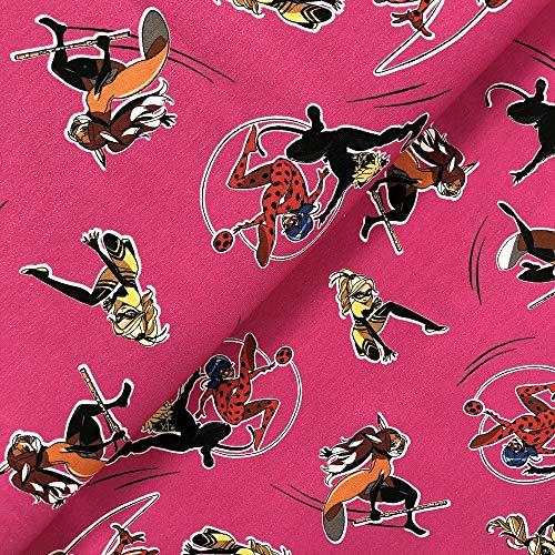 Swafing GmbH Lizenz Jersey Miraculous Rena Rouge & Queen Bee pink - Stoff - Meterware - 0,5m x VB