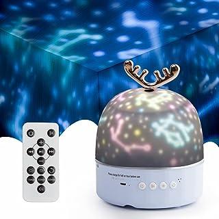 スタープロジェクターライト ベッドサイドランプ 星空ライト Bluetooth対応 タイマー機能付き 15分・30分タイマー 6種類の投影映画フィルム 360度回転 明るさ調整でき 家庭用 オルゴール USB充電式 ナイトライト ロマンチック雰...