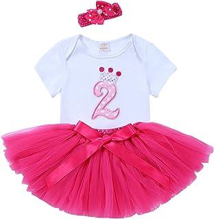 7303cbb0d URBEAR Bebé Niña 3pcs vestido de Rosa Roja tutú+ropa+diadema Corona Patrón  de