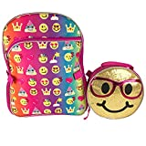 Emoji 16' Inch Backpack & Lunch Bag Set - Emojicon Style With Gold Sequin Removable Lunchbag