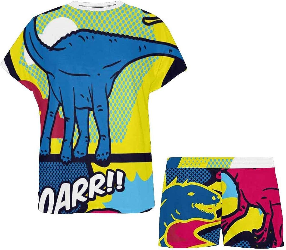 INTERESTPRINT Dinosaurs Comic Pop Art Style Women Sleepwear Short Sleeves Pajama Sets