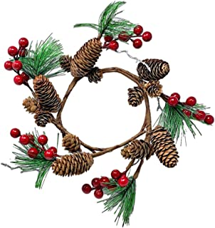 Pinecones Pine Red Berries Wreath Candle Ring Ornament for Rustic Wedding or Christmas Table Decor Approx. 10 inch fits 5 Inch Candle