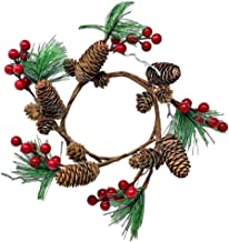 Pinecones Pine Red Berries Wreath Candle Ring Ornament for Rustic Wedding or Christmas Table Decor Approx. 10 inch fits 5 ...